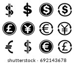 black currency symbols icons set | Shutterstock .eps vector #692143678