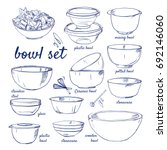 doodle set of bowls   plastic ... | Shutterstock .eps vector #692146060