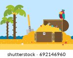open treasure chest and pirates ... | Shutterstock .eps vector #692146960