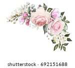 Stock photo watercolor flowers arrangements floral illustration composition of flowers pink rose leaf and 692151688