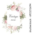 Stock photo vintage card watercolor wedding invitation design with pink roses bud and leaves flower 692151694