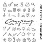 camping hand drawn icons.... | Shutterstock .eps vector #692161180