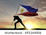Philippines Flag Being Pushed...