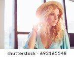 portrait of young blonde sexy... | Shutterstock . vector #692165548