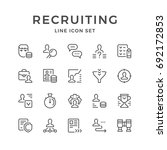 set line icons of recruiting... | Shutterstock .eps vector #692172853
