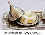 turkish sweets lokum in a metal ... | Shutterstock . vector #692172970