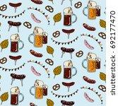 seamless oktoberfest pattern on ... | Shutterstock .eps vector #692177470