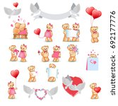 teddy bears collection on white.... | Shutterstock . vector #692177776