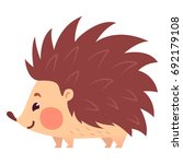 cute flat hedgehog with blush.... | Shutterstock .eps vector #692179108