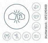 vector fist bump outline icon... | Shutterstock .eps vector #692190400