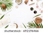 feminine beige swimsuit beach... | Shutterstock . vector #692196466