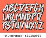 grunge comic vector font. | Shutterstock .eps vector #692200993