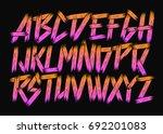 grunge retro vector font. | Shutterstock .eps vector #692201083