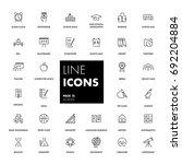 15. line icons set. school pack.... | Shutterstock .eps vector #692204884