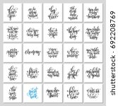 set of 25 hand lettering... | Shutterstock . vector #692208769