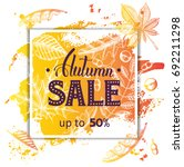 vector autumn sale banner with... | Shutterstock .eps vector #692211298