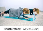 senior woman with female coach... | Shutterstock . vector #692213254