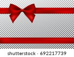 red gift bow and ribbon. | Shutterstock .eps vector #692217739