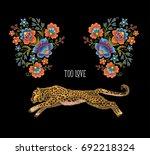 leopard with flowers. vector... | Shutterstock .eps vector #692218324