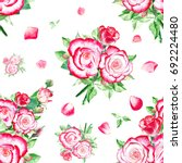 seamless watercolor white red... | Shutterstock . vector #692224480
