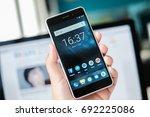 riga  august 2017   a brand new ... | Shutterstock . vector #692225086