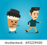 coffee paper cup runs over man... | Shutterstock .eps vector #692229430