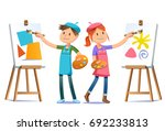 young artists practice their... | Shutterstock .eps vector #692233813