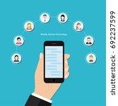 mobile internet social vector... | Shutterstock .eps vector #692237599