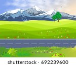 summer landscape with a green... | Shutterstock .eps vector #692239600