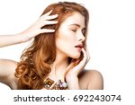 girl with beautiful long red... | Shutterstock . vector #692243074