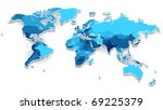 world map with countries in... | Shutterstock . vector #69225379