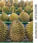 Small photo of Display of the Durian fruit 'delicacy' savoured all over Malaysia and south east Asia