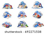 set of piles of clothes... | Shutterstock . vector #692271538