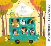 cute animals traveling by bus | Shutterstock .eps vector #692273110