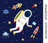cartoon astronaut with a flag... | Shutterstock .eps vector #692289946