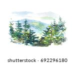 Watercolor Landscape Of The...