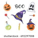 happy halloween watercolor set. ... | Shutterstock . vector #692297008