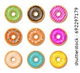 donut cake set isolated on... | Shutterstock .eps vector #692297179