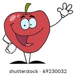 red apple waving a greeting | Shutterstock . vector #69230032