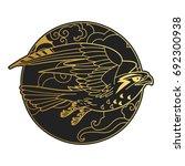 bird of prey. vector hand drawn ... | Shutterstock .eps vector #692300938