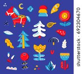vector set with hand drawn... | Shutterstock .eps vector #692304670