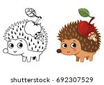 hedgehog with an apple and a... | Shutterstock .eps vector #692307529