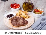 marble beef with potatoes ... | Shutterstock . vector #692312089