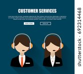 man and woman wearing headsets... | Shutterstock .eps vector #692314468