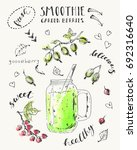 hand drawn smoothie jar with... | Shutterstock .eps vector #692316640