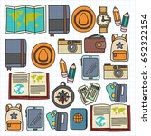 vector doodle set with travel... | Shutterstock .eps vector #692322154
