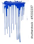 a blue paint drips on white - stock photo