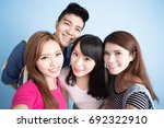 student selfie happily on the... | Shutterstock . vector #692322910