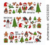 christmas new year santa claus... | Shutterstock .eps vector #692323033