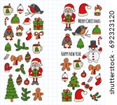 christmas new year santa claus... | Shutterstock .eps vector #692323120